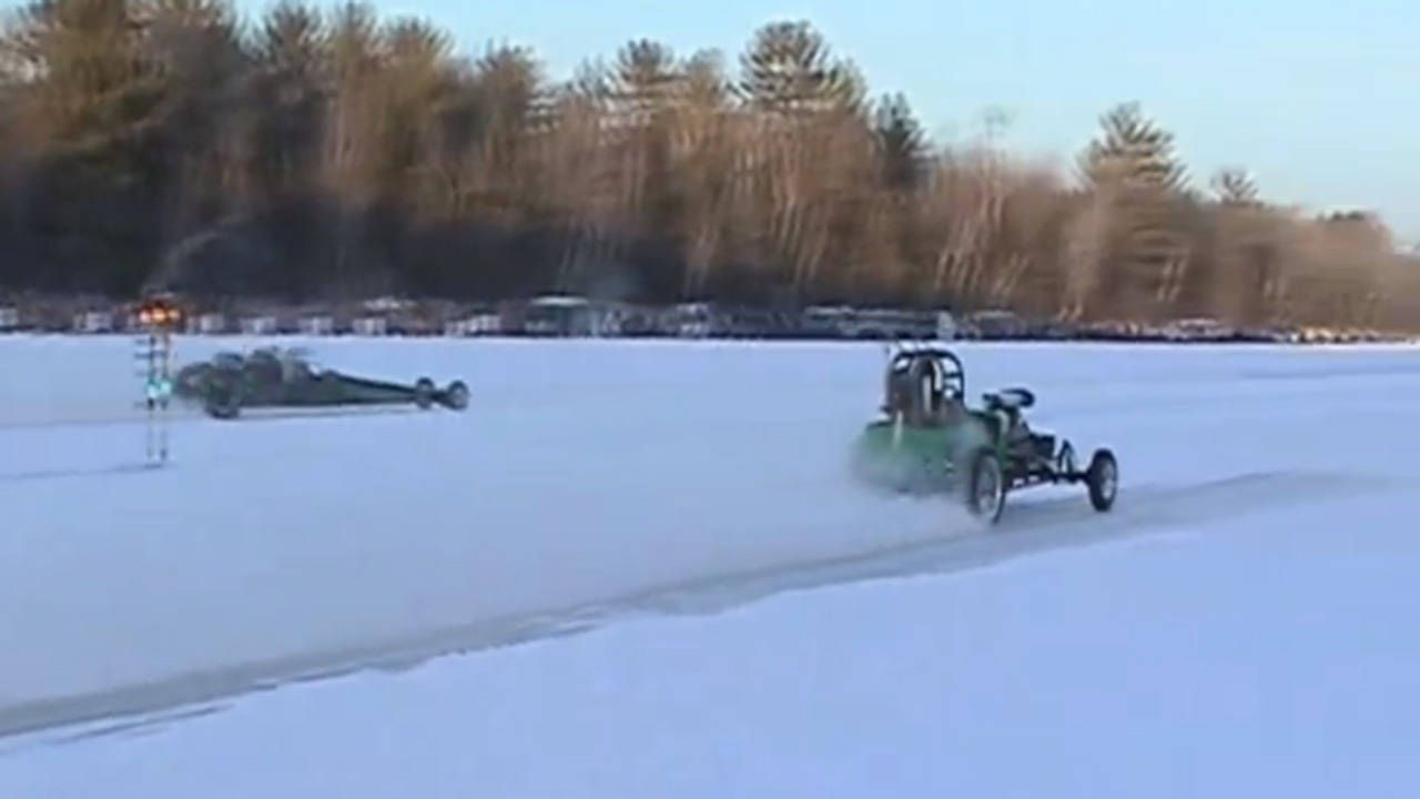 Drag racing on ice is better than coffee