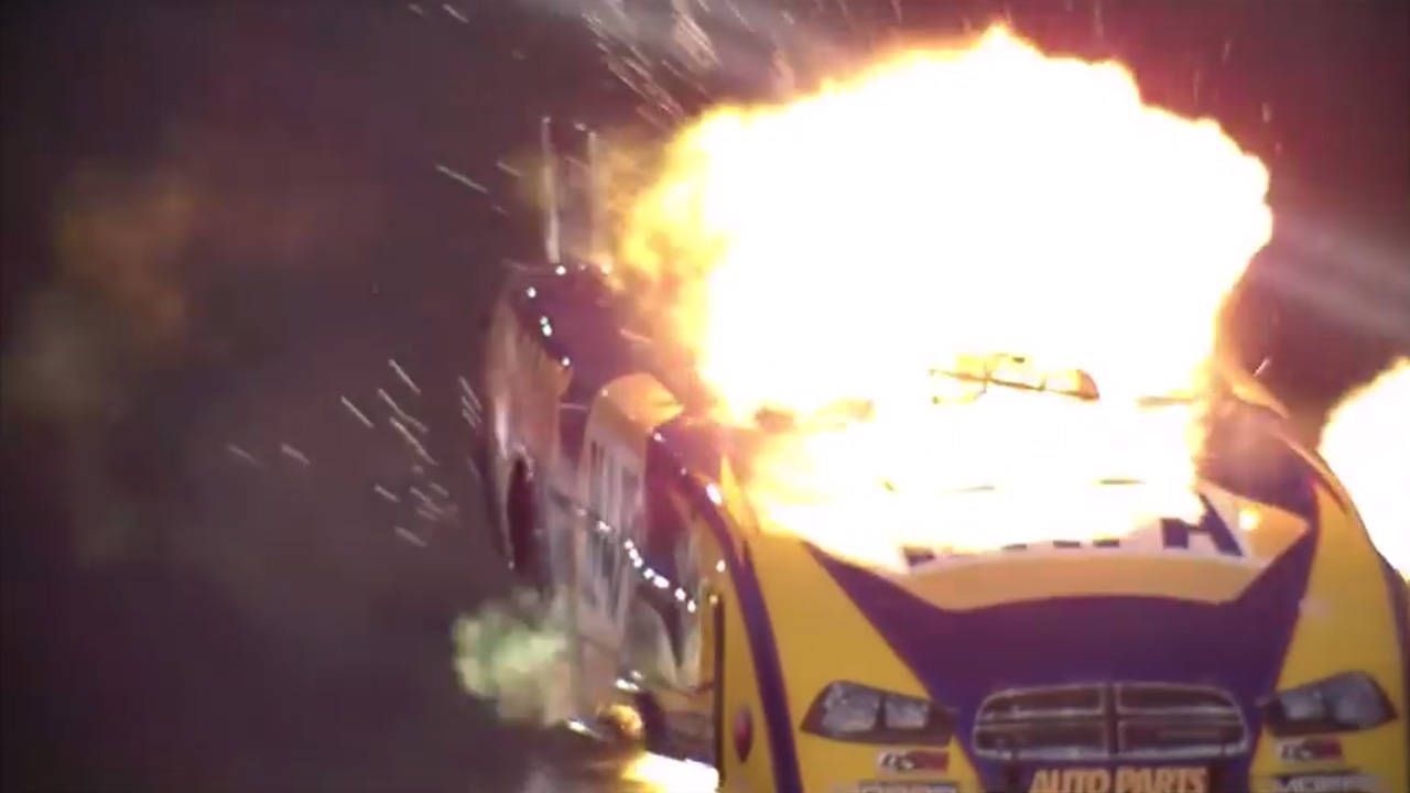 Ron Capps walked away from this insane Funny Car explosion