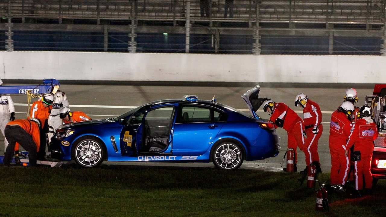 NASCAR returns, pace car promptly catches fire at Daytona