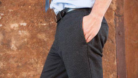 Clothing, Sleeve, Joint, Waist, Pocket, Denim, Street fashion, Beige, Cuff, Button,