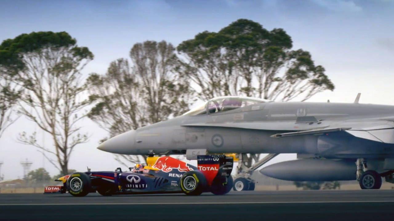 Watch a Red Bull F1 car drag race an F/A-18 Hornet