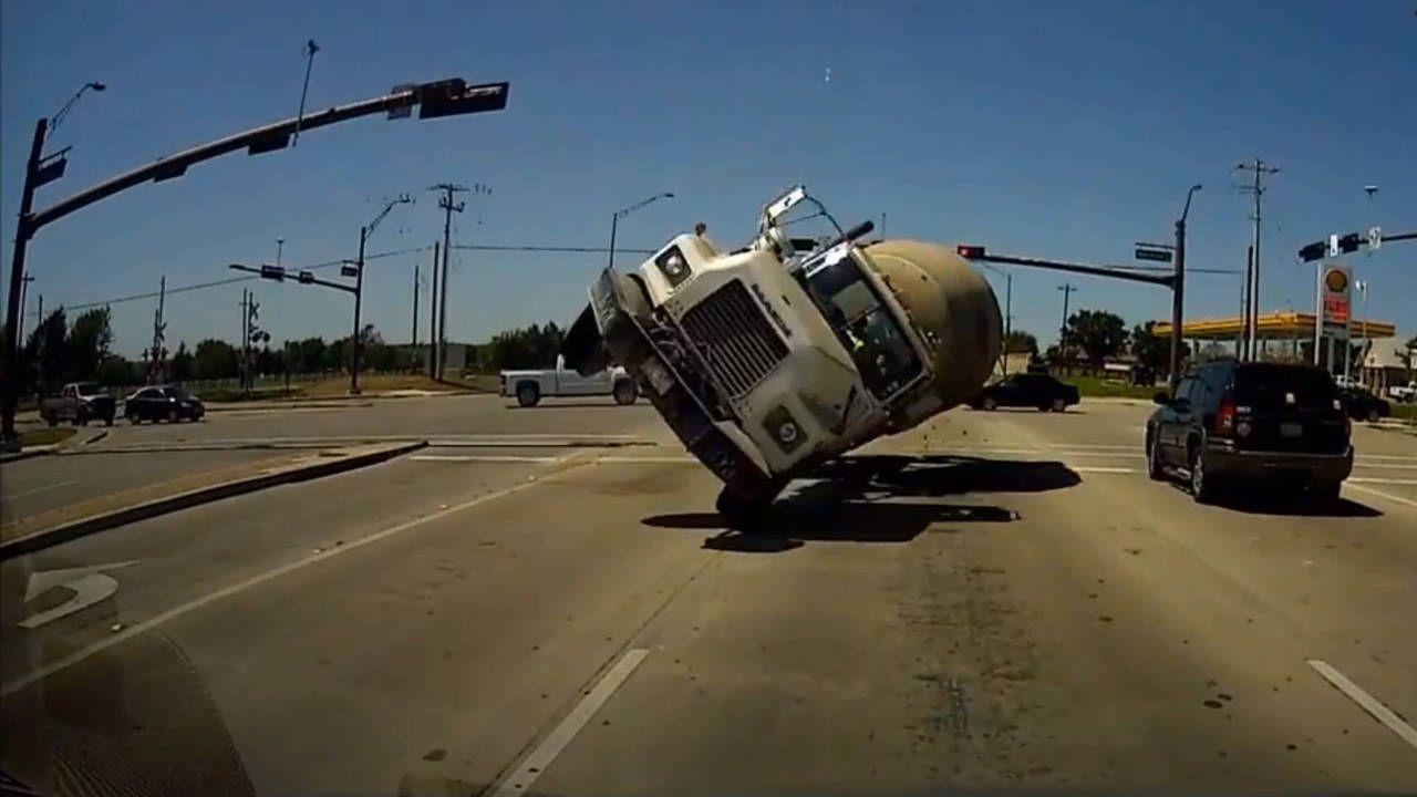 Dashcam captures terrifying cement-mixer head-on crash