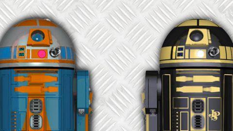 Yellow, Fictional character, Machine, Electric blue, Majorelle blue, Space, Gas, Paint, R2-d2, Plastic,