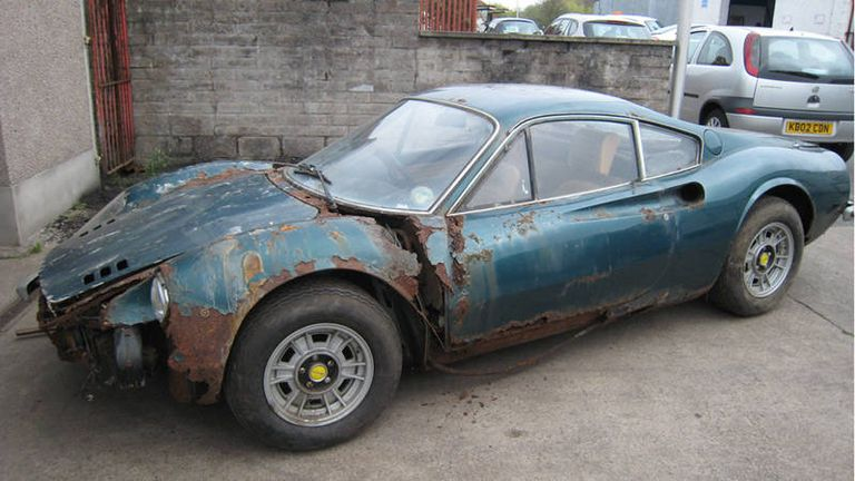 rust bucket ferrari dino barn find sells for 221 000 poor vehicle condition doesn 39 t deter. Black Bedroom Furniture Sets. Home Design Ideas