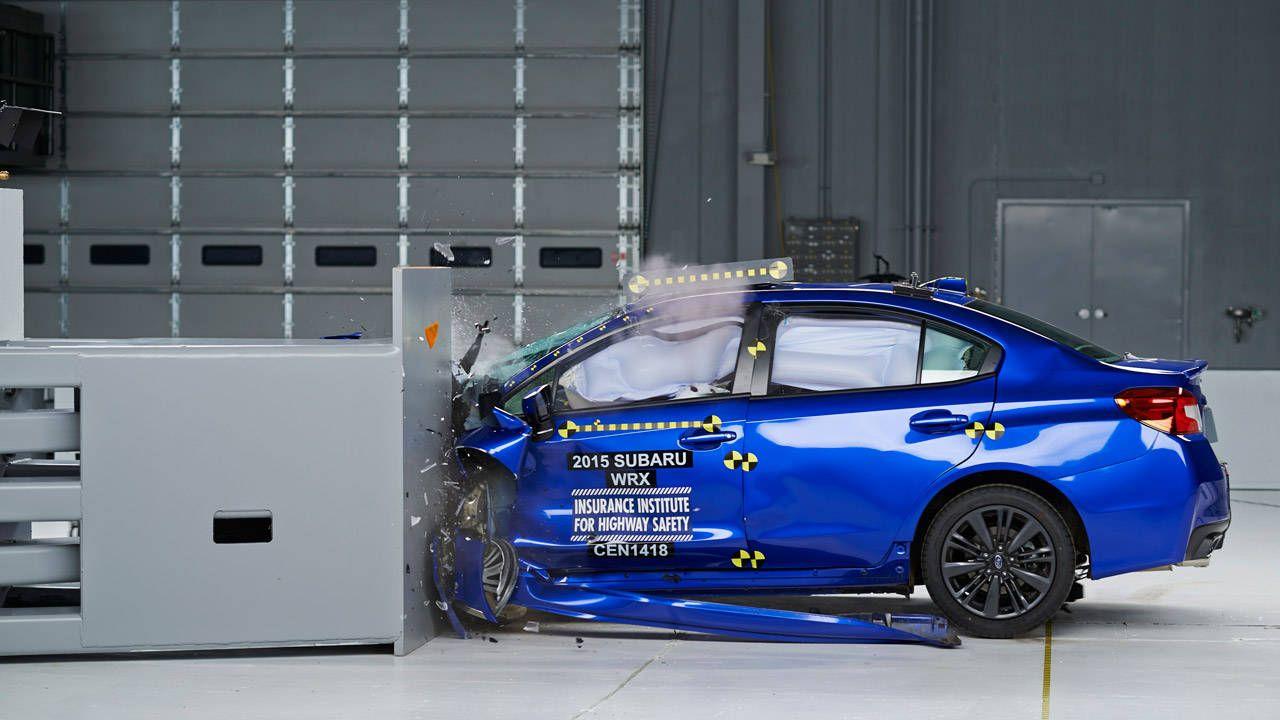 Watch three 2015 Subaru WRX sedans die in IIHS crash tests