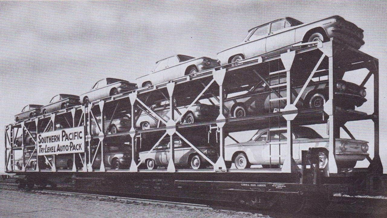For National Train Day, Corvairs on a train