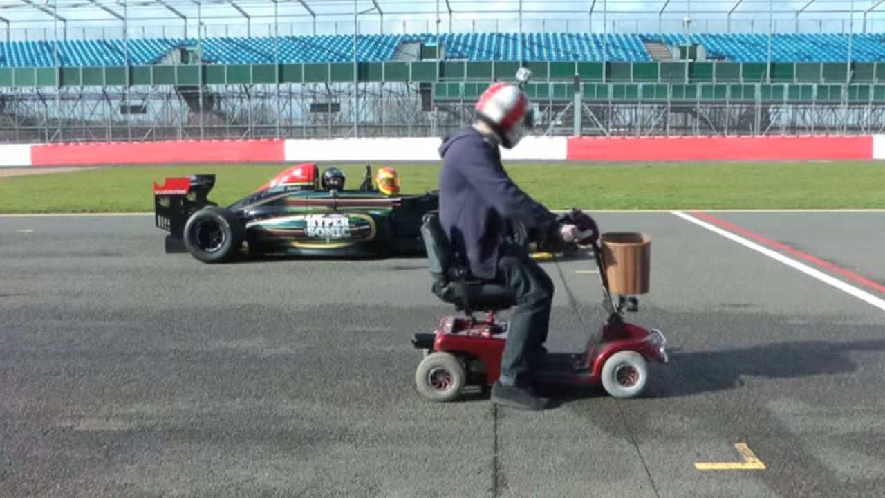 Watch this madman lap Silverstone in a van, then a mobility scooter