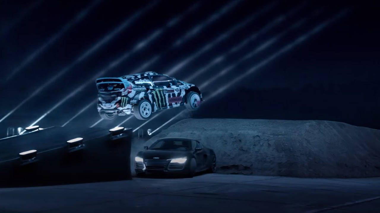 Watch this Gymkhana-style relay in the dark with Ken Block and friends