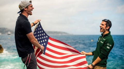 Flag, Cap, Flag of the united states, Tourism, Holiday, People in nature, Travel, Helmet, Flag Day (USA), Gesture,