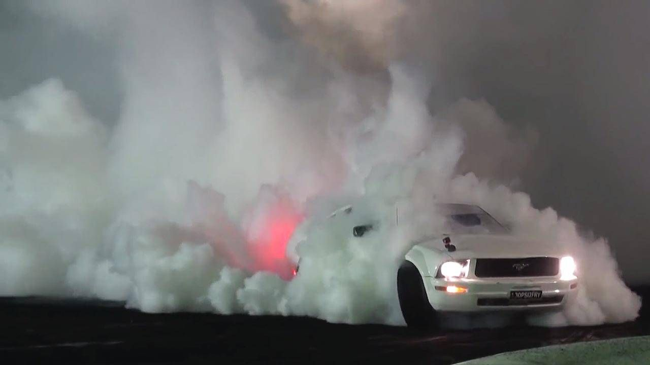 You will know this turbo Mustang V6 by its trail of smoke