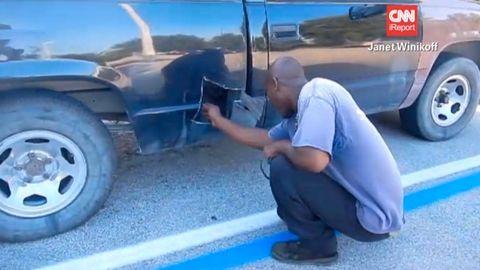 Tire, Wheel, Motor vehicle, Mode of transport, Automotive tire, Human, Blue, Automotive wheel system, Vehicle, Automotive exterior,