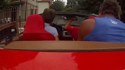 T-shirt, Vehicle door, Automotive window part, Back, Luxury vehicle,