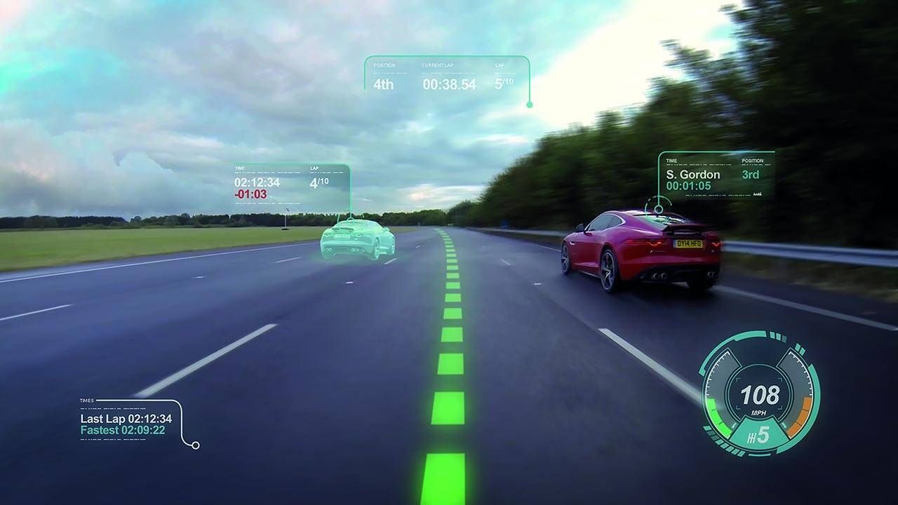 The Jaguar virtual windscreen is very cool