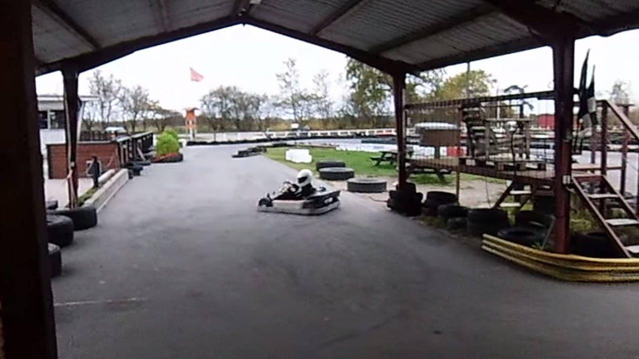 Hero kid parks his go-kart like a boss