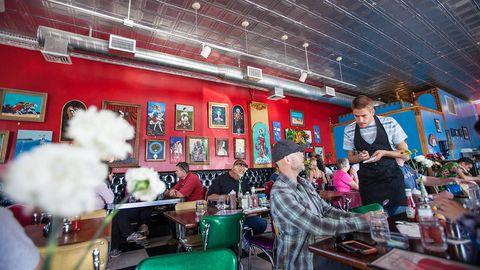 Ceiling, Chair, Customer, Television, Restaurant,