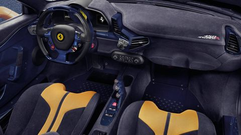 Motor vehicle, Mode of transport, Steering part, Automotive design, Steering wheel, Speedometer, Orange, Luxury vehicle, Car seat, Center console,