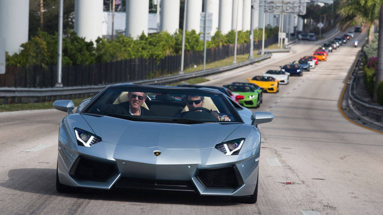 Daytona Beach Dog Track >> Lamborghini Aventador Roadsters hit Miami Beach. Car porn ensues.