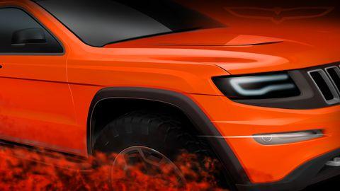 Automotive design, Automotive exterior, Vehicle, Automotive tire, Hood, Orange, Red, Automotive lighting, Car, Grille,