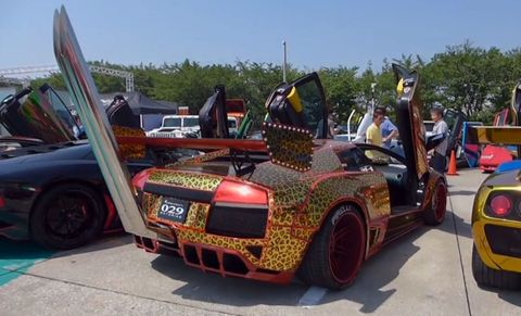Video Japanese Lamborghini Has Towering Bosozoku Style Exhaust