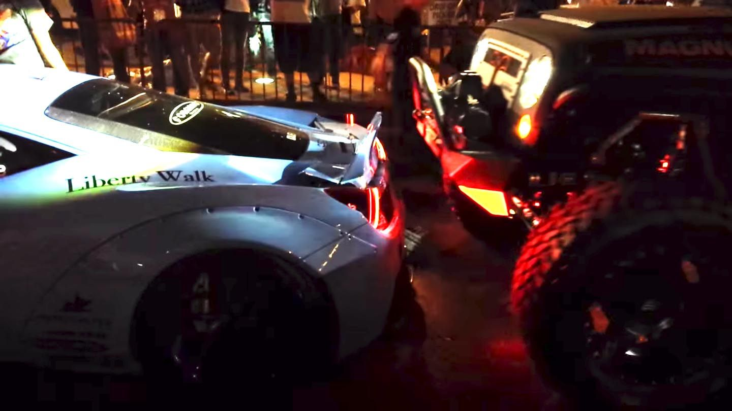 Liberty Walk Ferrari crushed by SEMA Jeep in facepalm-worthy video