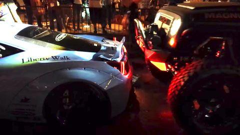 SEMA Liberty Walk Ferrari Jeep Crash Video