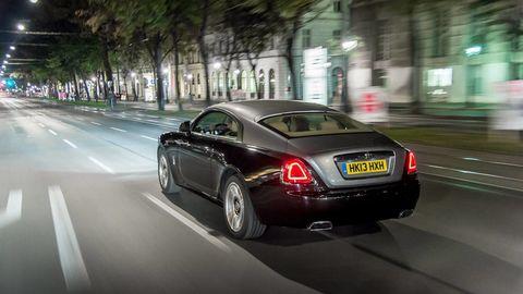 Land vehicle, Vehicle, Car, Luxury vehicle, Automotive design, Rolls-royce wraith, Rolls-royce, Sedan, Performance car, Road,