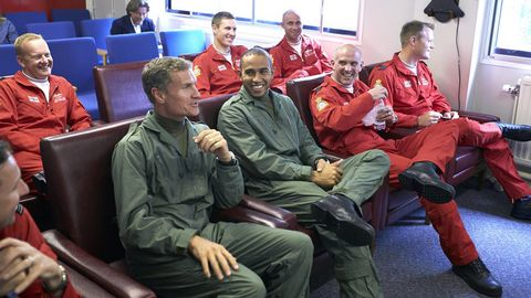 Lewis Hamilton, David Coulthard and the Royal Air Force Red Arrows