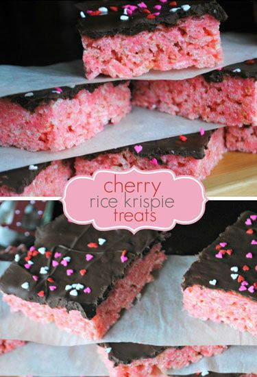 """These pretty-in-pink cherry treats are topped with dark chocolate frosting and sprinkles.&nbsp;  <strong>Get the recipe at <a href=""""http://www.shugarysweets.com/2012/01/cherry-krispie-treats-with-dark-chocolate"""" target=""""_blank"""">Shugary Sweets</a>.</strong>"""