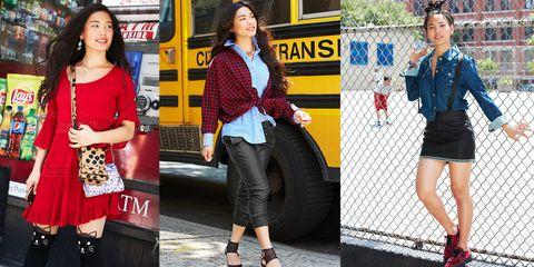 Clothing, Footwear, Leg, Bus, Outerwear, Bag, Red, Street fashion, Style, Fashion accessory,