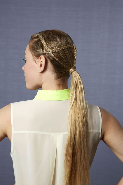 Hair, Hairstyle, Shoulder, Neck, Ponytail, Long hair, Blond, Back, Hair accessory, Hair tie,