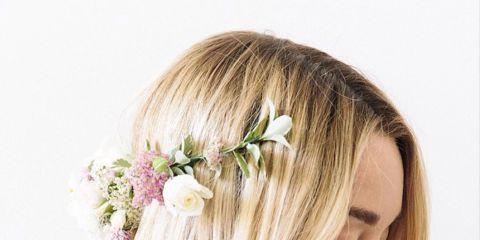 Hairstyle, Petal, Hair accessory, Beauty, Eyelash, Long hair, Headpiece, Blond, Step cutting, Brown hair,