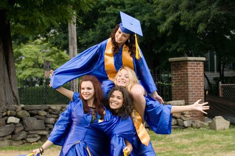 Blue, People, Academic dress, Community, Facial expression, Scholar, Mortarboard, Graduation, Bench, Interaction,
