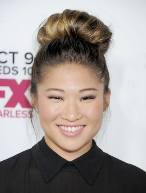 "WEST HOLLYWOOD, CA - OCTOBER 05: Actress Jenna Ushkowitz arrives at the Los Angeles premiere of FX's ""American Horror Story: Coven"" at Pacific Design Center on October 5, 2013 in West Hollywood, California.  (Photo by Gregg DeGuire/WireImage)"