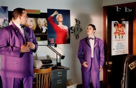 Purple, Chest of drawers, Drawer, Violet, Cabinetry, Suit trousers, Advertising, Banner, Dresser, Costume,