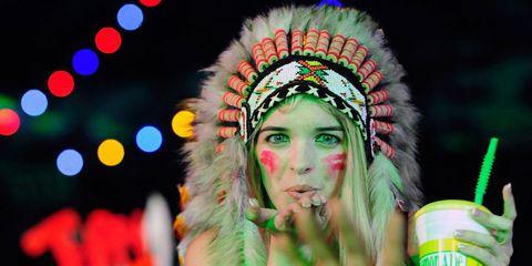 Tradition, Headgear, Headpiece, Colorfulness, Eyelash, Tin can, Hair accessory, Festival, Aluminum can, Cup,
