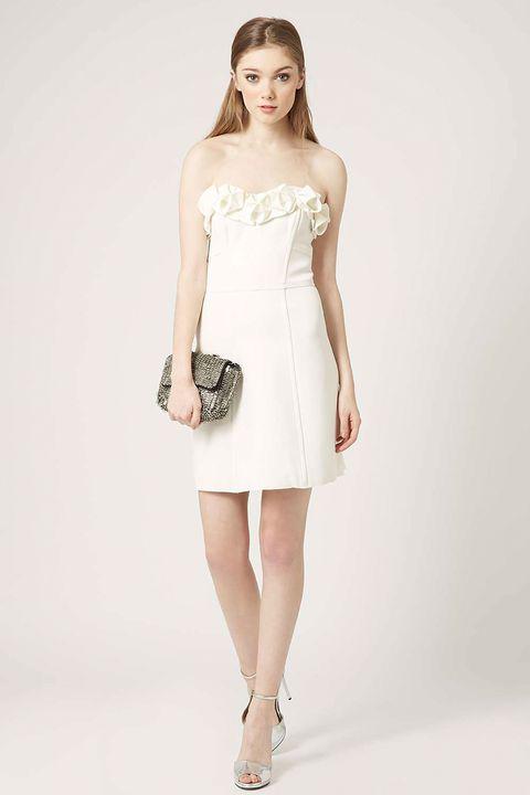 Clothing, Skin, Sleeve, Dress, Shoulder, Photograph, Joint, White, Human leg, One-piece garment,