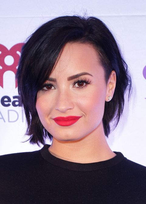 Demi's soft chin-length bob and face-framing layers look amazing with her round face. The shorter style makes her look super sophisticated.