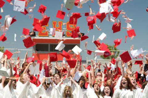 Crowd, Red, Headgear, Team, Celebrating, Tradition, Mortarboard, Graduation, Cheering, Academic dress,