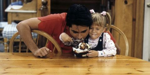 Wood, Table, Dessert, Cake, Baked goods, Sharing, Hardwood, Wood stain, Plate, Toddler,