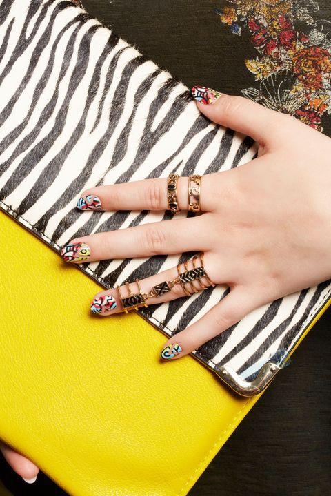 Finger, Yellow, Wrist, Nail, Thumb, Nail care, Body jewelry, Cosmetics, Nail polish, Manicure,