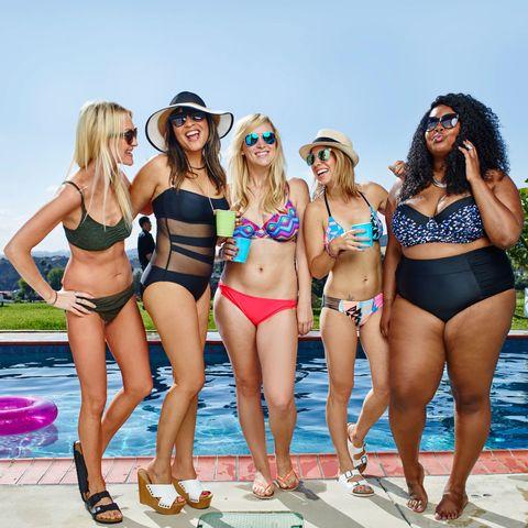Clothing, Leg, Fun, Brassiere, Hat, Bikini, Swimsuit top, Thigh, Summer, Swimsuit bottom,