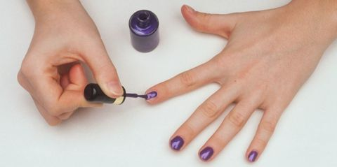 Finger, Blue, Nail, Purple, Violet, Lavender, Thumb, Electric blue, Material property, Nail polish,
