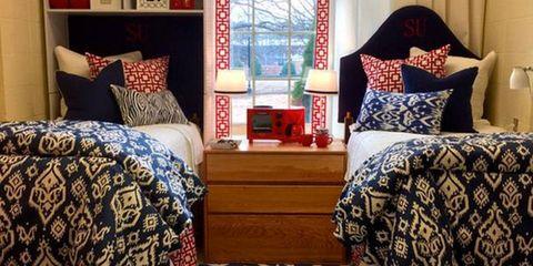 Room, Interior design, Floor, Textile, Furniture, Bedding, Bedroom, Linens, Home, Flooring,