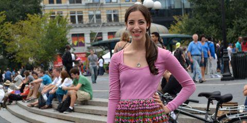 Pink, Magenta, Street fashion, Street, Bag, Bicycle handlebar, Luggage and bags, Violet, Pedestrian, Snapshot,