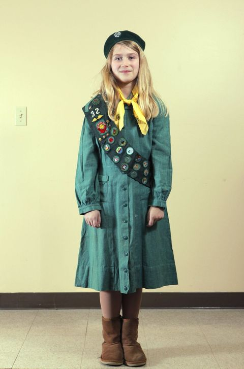 Girl Scout in old-fashioned uniform