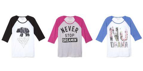 Clothing, Product, Sleeve, Text, Sportswear, White, T-shirt, Purple, Font, Logo,
