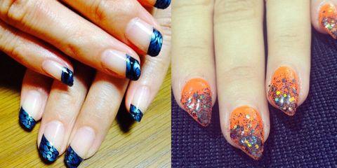 Blue, Finger, Nail, Nail care, Nail polish, Orange, Style, Manicure, Majorelle blue, Purple,