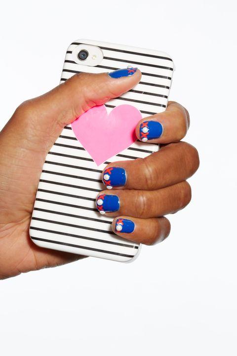 Blue, Finger, Skin, Nail, Nail care, Nail polish, Manicure, Electric blue, Azure, Thumb,