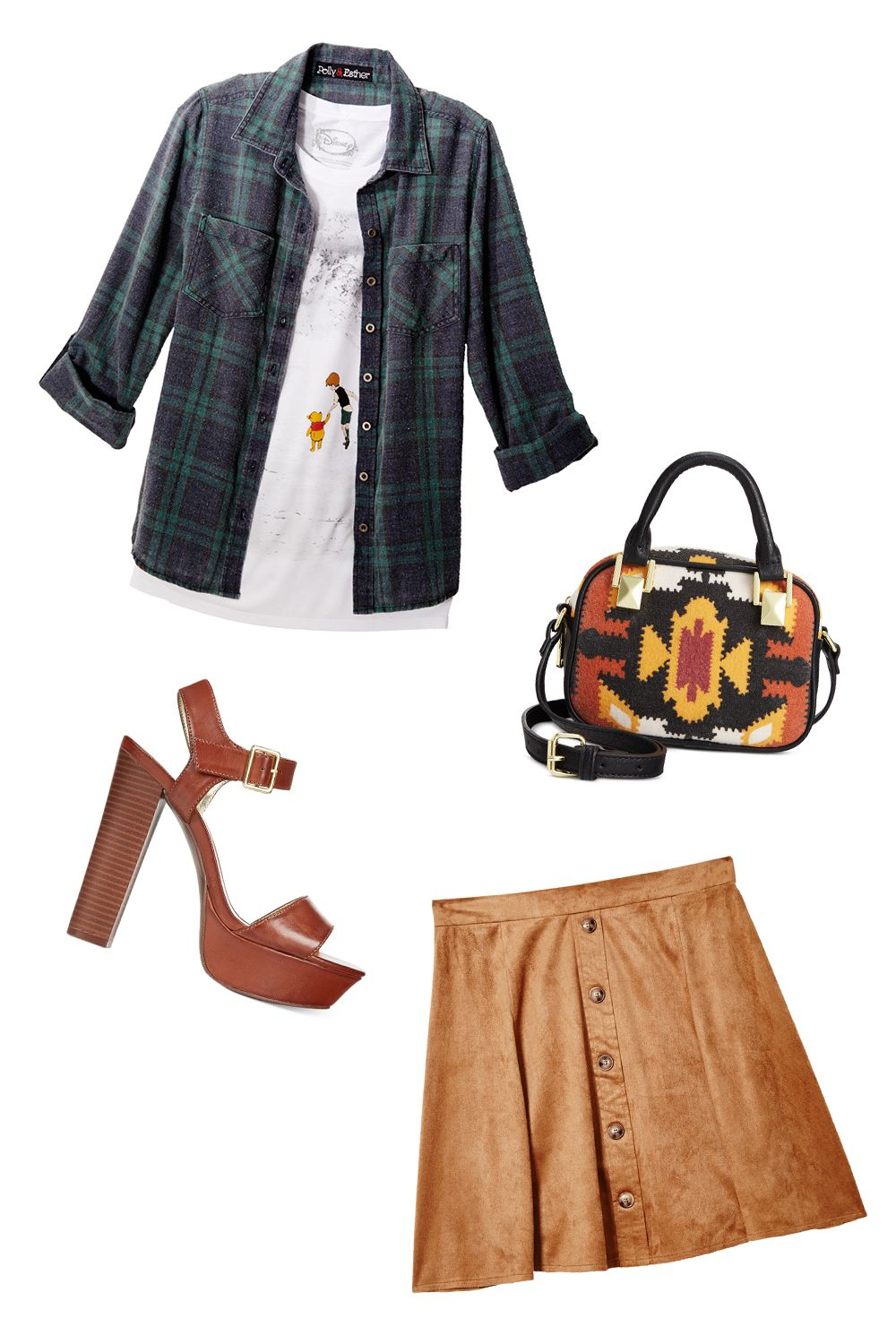 "<p><strong>The Look: </strong>Adorably Fashionable </p><p>On breezy autumn days, pair a cute, neutral skirt with a warmer flannel top and a patterned purse. And a graphic tee featuring none other than Winnie the Pooh? That's just a (huggable) bonus! </p><p><i>All items available at <a href=""http://www1.macys.com/shop/junior-clothing/shop-all-juniors-apparel?id=60983&edge=hybrid"" target=""_blank"">macys.com</a>.</i> </p>"