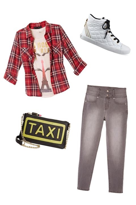 "<p><strong>The Look: </strong>Going Gray </p><p>To switch things up without adding too much color, wear a pair of lightly distressed gray jeans and a traditional red flannel. High-top white sneaks will keep you comfortable as you roam from store to store.</p><p><em><i>All items available at <a href=""http://www1.macys.com/shop/junior-clothing/shop-all-juniors-apparel?id=60983&edge=hybrid"" target=""_blank"">macys.com</a>.</i><a href=""http://www1.macys.com/shop/product/belle-du-jour-juniors-paris-foil-graphic-tee?ID=2346424&CategoryID=17043&cm_mmc=crosspromo-_-seventeen-_-mstylelab_shoppable_gallery_090615_093015-_-2346424_belle_du_jour_juniors_paris_foil_graphic_tee"" target=""_blank""></a><a href=""http://www1.macys.com/shop/product/belle-du-jour-juniors-paris-foil-graphic-tee?ID=2346424&CategoryID=17043&cm_mmc=crosspromo-_-seventeen-_-mstylelab_shoppable_gallery_090615_093015-_-2346424_belle_du_jour_juniors_paris_foil_graphic_tee"" target=""_blank""></a></em><br></p>"